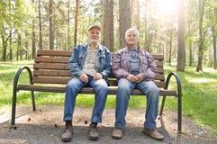 两个年长人在松林坐公园长椅,在夹克打扮的年长人休息 免版税库存图片