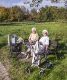 两个年长夫人享用太阳在长凳和达到目的那里与a 免版税库存照片