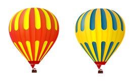 两个3d五颜六色的热空气气球 免版税库存照片