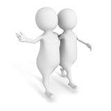 两个3d在白色背景的人步行 免版税图库摄影