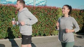 两亭亭玉立的人在公园区域、男人和妇女跑自白天 股票视频