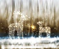 两从灯和导线的驯鹿在冬天Bokeh背景 向量例证
