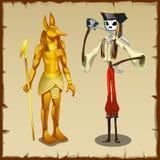 两位古老标志、Anubis小雕象和海盗 库存照片
