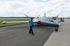 两位子喷气机教练员Fouga Magister CM-170 库存图片