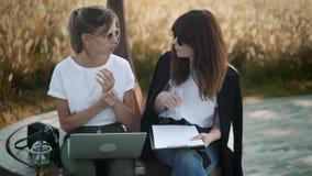 两位年轻设计师谈论他们的在公园长椅的未来收藏在夏天 股票录像