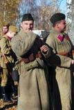 两位战士reenactors画象  免版税库存照片