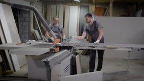 两位木匠在工作木匠在植物中购物,削减颗粒盘为生产家具做准备 影视素材
