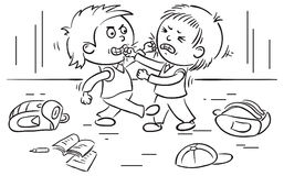 两位男小学生战斗 免版税库存照片