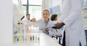 两位科学家谈论拿着试管的实验的结果与的例子在实验室 影视素材