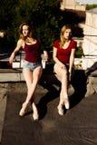 两位芭蕾舞女演员画象屋顶的 免版税库存图片
