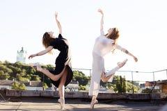 两位芭蕾舞女演员画象屋顶的 库存照片