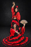 两位西班牙舞蹈家全长画象  免版税库存照片
