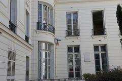两位总统、约翰・亚当斯和约翰・昆西・亚当斯的家在1784年和1785居住这里在45云香d Auteuil,第16 arr - 巴黎法郎 免版税图库摄影