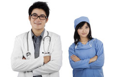 两位年轻确信的医生 库存图片