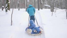 两儿童步行在冬天公园 乘坐在雪橇 室外活动和走 股票录像
