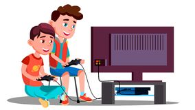 两儿童男孩戏剧电子游戏传染媒介 按钮查出的现有量例证推进s启动妇女 皇族释放例证