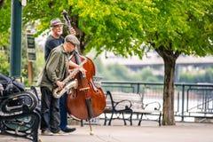 两先生们在演奏音乐的公园 库存照片