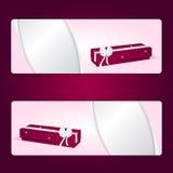 两典雅的与红色长的箱子和白色弓的礼物水平的桃红色横幅 皇族释放例证