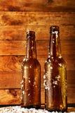 两冷淡的啤酒瓶新近地被采取在冰箱外面 免版税库存照片