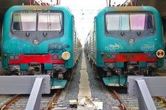 两列普通车停止火车站前面 免版税库存照片