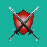 两剑和盾,保护安全红色 库存图片