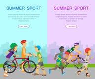 两副夏天体育横幅 免版税库存图片