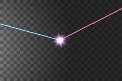 两力量碰撞的光与红色和蓝色光的 两个星的爆发 皇族释放例证