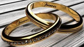 两加入了在一张木桌上的金婚圆环 向量例证