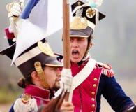 两匹战士乘驾马。 图库摄影