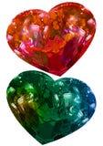 两华伦泰心脏,爱题材,隔绝了绿色和红色心脏 免版税库存照片