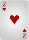 两卡片心脏啤牌 免版税库存图片