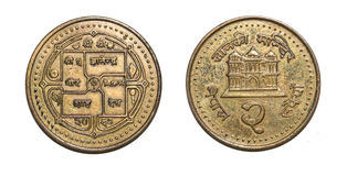 两卢比货币硬币尼泊尔 免版税图库摄影