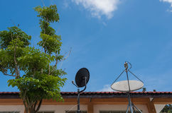 两卫星盘有美好的蓝天背景 免版税库存照片