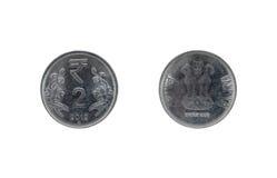 两印度卢比硬币 免版税图库摄影