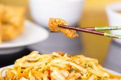 两双被提炼的筷子垂悬鸡片断  库存图片