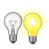 两古板的发光的钨电灯泡和未点燃 向量例证