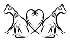 两只埃及猫,浪漫史,心脏 库存例证