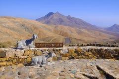 两只山羊和地标的纪念碑 费埃特文图拉岛,西班牙- 25 06 2016年 图库摄影