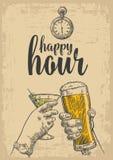 两只手使一杯啤酒和一杯鸡尾酒叮当响 葡萄酒传染媒介刻记了网的拉长的例证,海报 皇族释放例证