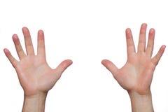 两只手在上面被举 库存图片