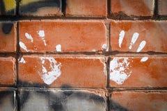 两只手白色油漆印刷品在五颜六色的graffity的在砖 免版税库存图片