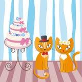 两只爱恋的猫浪漫夫妇-例证 免版税库存照片