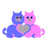 两只猫和心脏 免版税库存图片