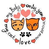 两只猫图画在爱的,做在与浪漫的一个圈子 库存照片