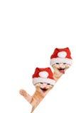 两只猫,笑和挥动与圣诞节帽子 免版税图库摄影
