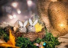 两只玩具兔子坐巢反对五颜六色的bokeh 库存图片