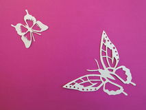 两只白色蝴蝶 纸切口 免版税库存照片
