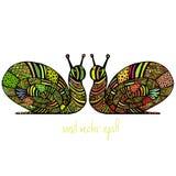 两只色的蜗牛 图库摄影
