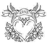 两只蓝鸫运载充满字法爱的丝带在心脏 用花装饰的红色心脏 黑白纹身花刺 库存例证