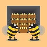 两只蜂存贮蜂蜜瓶子到仓库里 也corel凹道例证向量 图库摄影